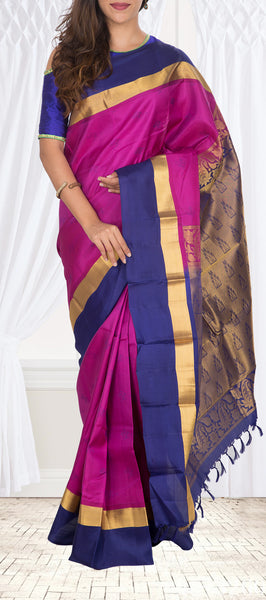 Purple & Dark Blue Lighweight Kanchipuram Silk Saree