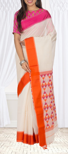 Off-White, Orange & Pink Maheshwari Cotton Saree