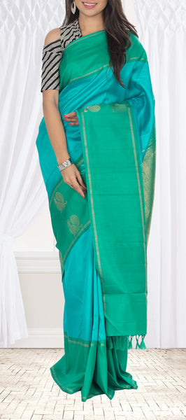 Turquoise Blue & Teal Green Pure Kanchipuram Handloom Silk Saree With Pure Zari.