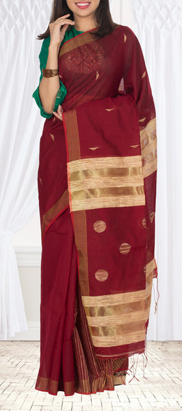 Semi Maheshwari Cotton Saree With Jute Pallu