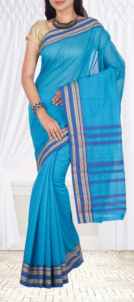 Dark Turquoise Blue Semi Silk Cotton Saree