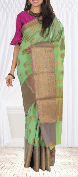 Light Green & Mauve Supernet Saree
