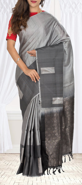 Grey Soft Silk Saree With Jute Mix