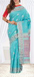 Turquoise Blue Pure Kanchipuram Handloom Silk Saree with Pure Zari
