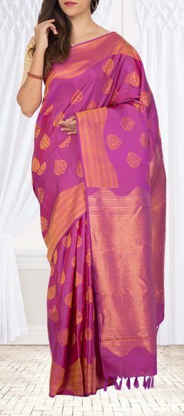 Pinkish Purple Lightweight Kanchipuram SIlk Saree
