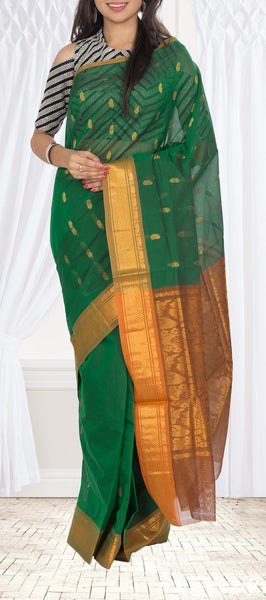Dark Green & Orange Summer Cotton Saree