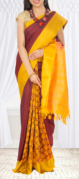 Maroon & Yellow Lightweight Kanchipuram Silk Saree