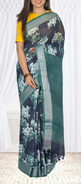 Midnight Blue Linen Silk Saree