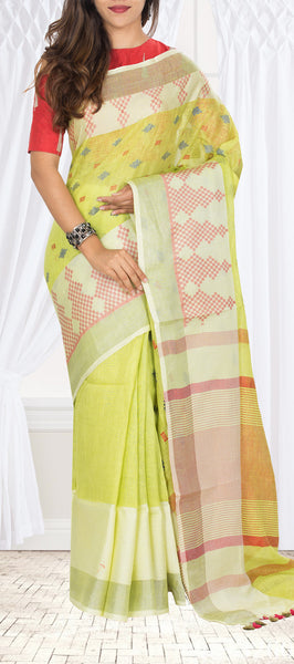 Lemon Green Linen Saree