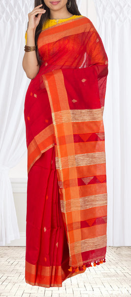 Red Semi Maheshwari Cotton Saree With Jute Pallu