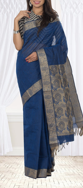 Prussian Blue Embossed Cotton Saree