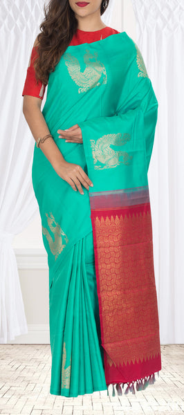 Coral Green & Dark Pink Kanchipuram Handloom Silk Saree With Pure Zari