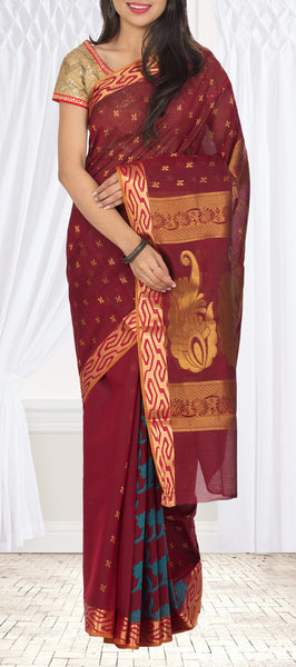 Maroon Semi Silk Cotton Saree