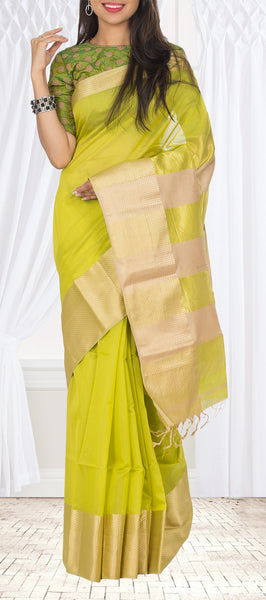 Parrot Green Maheshwari Cotton Saree