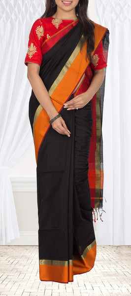 Black, Red & Orange Maheshwari Cotton Saree