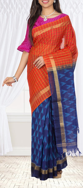 Orange & Navy Blue Red & Navy Blue Silk Cotton Saree