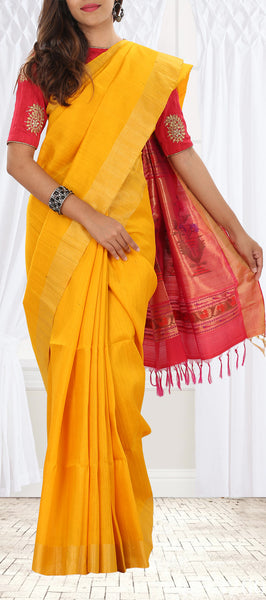 Bright Yellow Jute Silk Saree