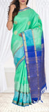 Coral Green & Royal Blue Pure Kanchipuram Handloom Silk Saree With Pure Zari
