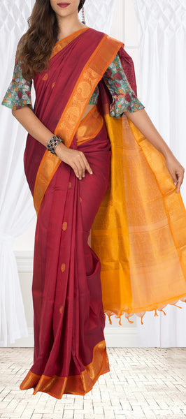 Maroon Red & Orange Silk Cotton Saree