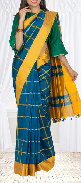 Teal Blue & Sunflower Yellow Semi Maheshwari Cotton Saree