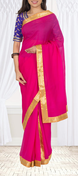 Hot Pink Pure Chiffon Saree