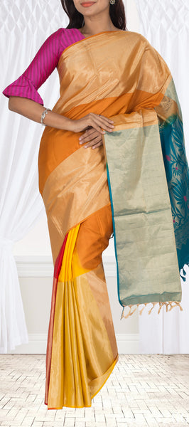 Mustard & Green  Soft Silk Saree