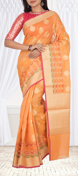 Light Orange Organza Saree