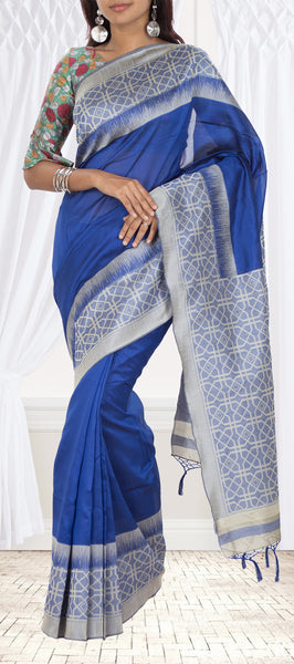 Blue & Grey Semi Jute Silk Saree