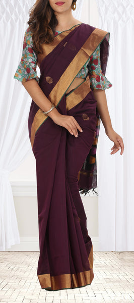 Maroon-Brown Semi Silk Cotton Saree