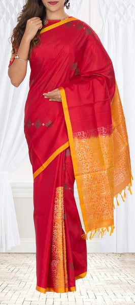 Red & Yellow Soft SIlk Saree