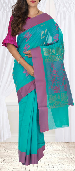 Teal Blue Semi Silk Cotton Saree