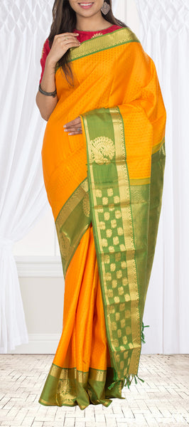 Mango Yellow & Green Lighweight Kanchipuram Silk Saree