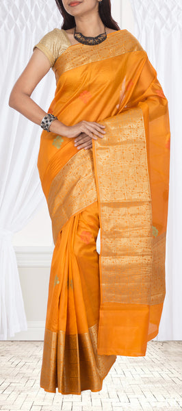 Orange Pure Tussar Silk Saree