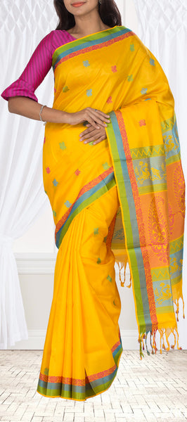 Bright Yellow Soft Sik Saree