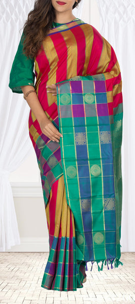 Multicoloured Kanchipuram Handloom Silk Saree With Pure Zari