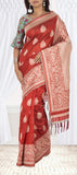 Deep Orange Semi Jute Silk Saree
