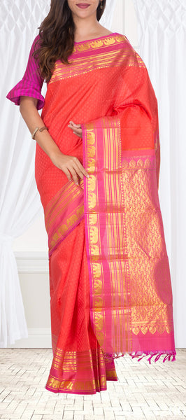 Orange & Pink Pure Pure Kanchipuram Handloom Silk Saree With Half-fine Zari