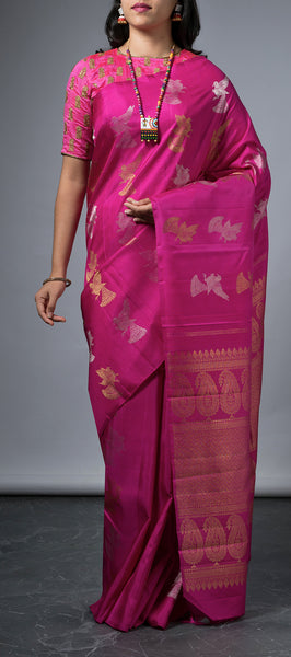 Borderless Purple Kanchipuram Silk Saree