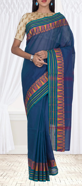 Dark Blue Maheshwari Cotton Saree