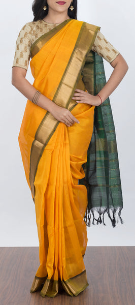 Mango Yellow Traditional Silk Cotton Saree