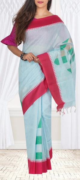 Baby Blue & Magenta Semi Silk Cotton Casual Saree With Linen Finish