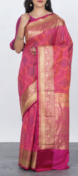 Pink Semi Tussar Silk Saree