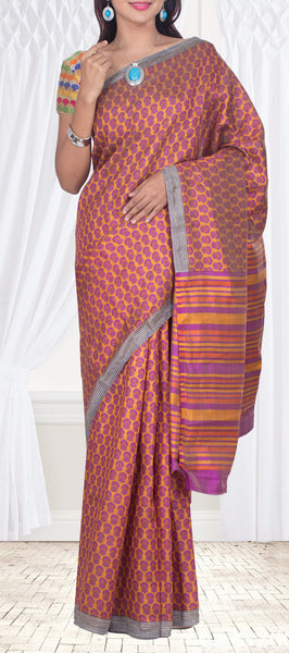 Orange Semi Kalamkari Saree