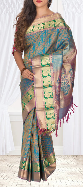 Blue, Green & Purple Pure Kanchipuram Handloom Silk Saree With Half-Fine Zari