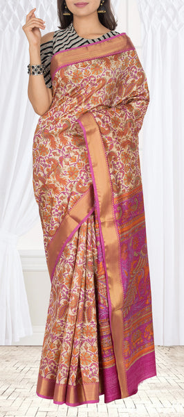 Beige Semi Kalamkari Casual Saree