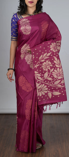 Magenta Borderless Softsilk Saree