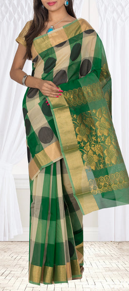 Cream & Green Semi Silk Cotton Casual Saree