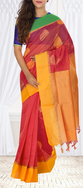 Bright Red & Mango Yellow Semi Silk Cotton Casual Saree