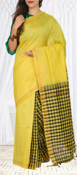 Neon Yellow & Black Semi Silk Cotton Saree