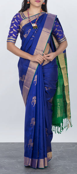 Dark Blue Softsilk Saree